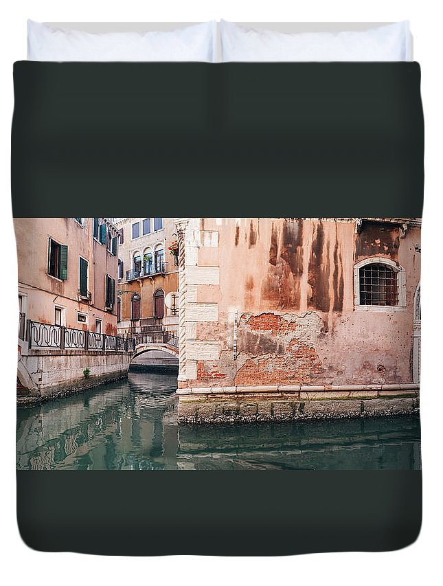 Venice Duvet Cover featuring the photograph Canal In Venice, Italy by Ivan Bastien