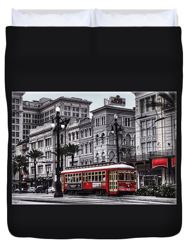 Nola Duvet Cover featuring the photograph Canal Street Trolley by Tammy Wetzel