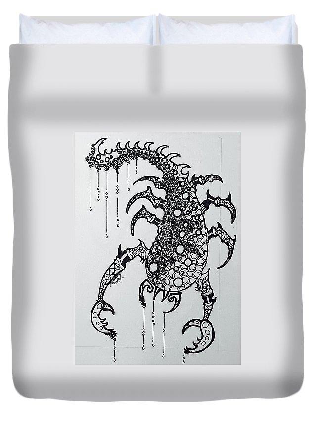 Sagittaurus Zodiac Duvet Cover featuring the drawing Scorpio by Maria Leah Comillas
