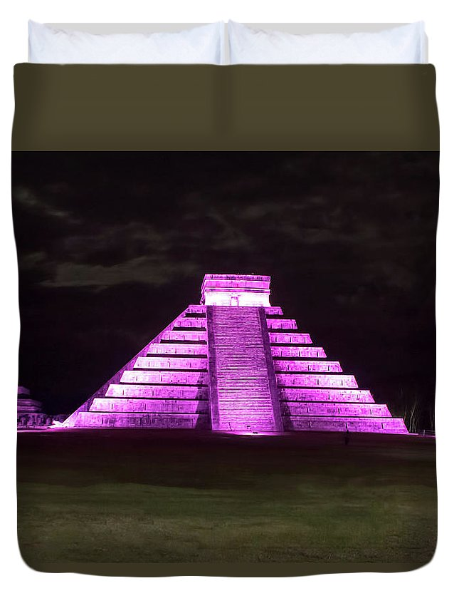 Cancun Duvet Cover featuring the photograph Cancun Mexico - Chichen Itza - Temple Of Kukulcan-el Castillo Pyramid Night Lights 2 by Ronald Reid