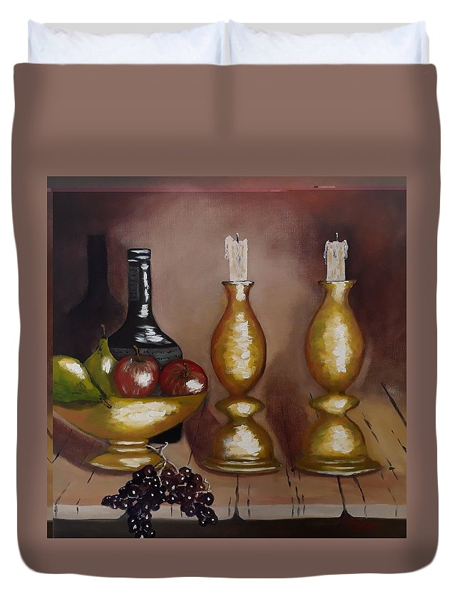 Candle Sticks Duvet Cover featuring the painting Candle Sticks by Mario Palma