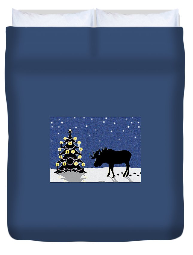 Moose Duvet Cover featuring the digital art Candlelit Christmas Tree And Moose In The Snow by Nancy Mueller