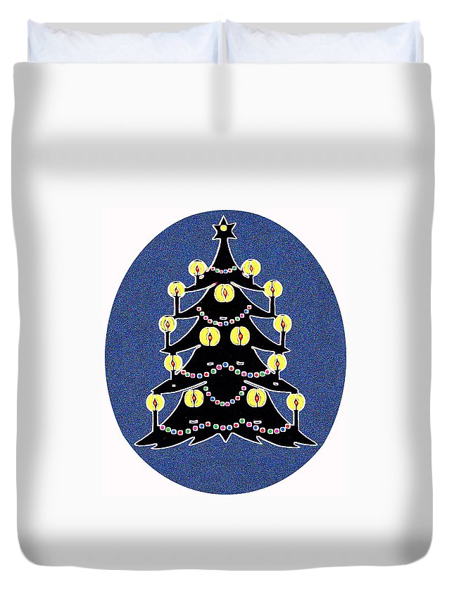 Christmas Duvet Cover featuring the digital art Candlelit Christmas Tree by Nancy Mueller