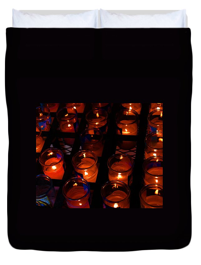 Candles Duvet Cover featuring the photograph Candles For Mother Maria by Susanne Van Hulst