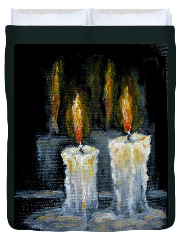 Candles Duvet Cover featuring the painting Candles Oil Painting by Natalja Picugina
