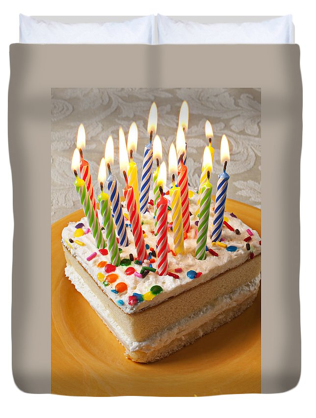 Flame Duvet Cover Featuring The Photograph Candles On Birthday Cake By Garry Gay