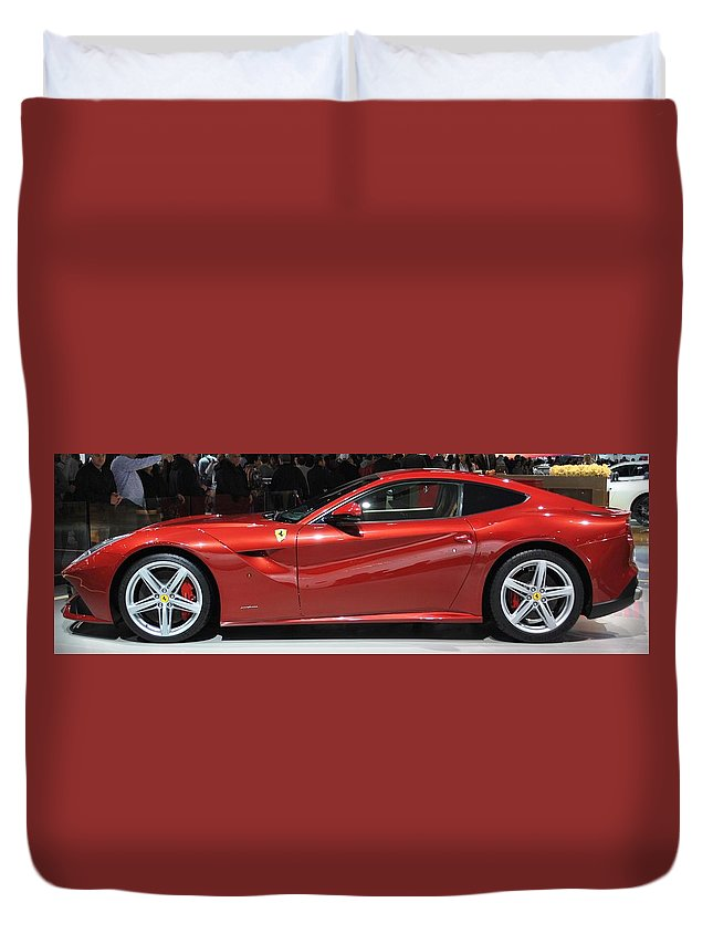 Automotive Photography Duvet Cover featuring the pyrography Candy Apple Red by Tysha Rodriguez