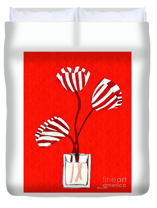 Tulip Duvet Cover featuring the mixed media Candy Stripe Tulips by Sarah Loft