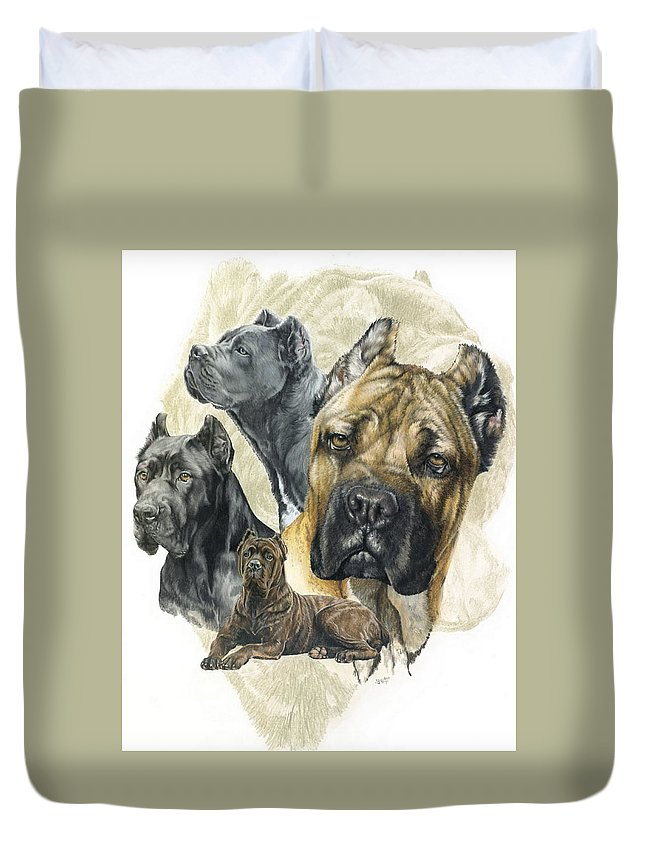 Working Duvet Cover featuring the mixed media Cane Corso W/ghost by Barbara Keith