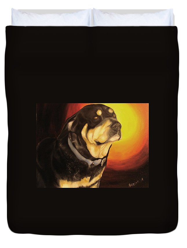 Paintings Duvet Cover featuring the painting Canine Vision by Glory Fraulein Wolfe