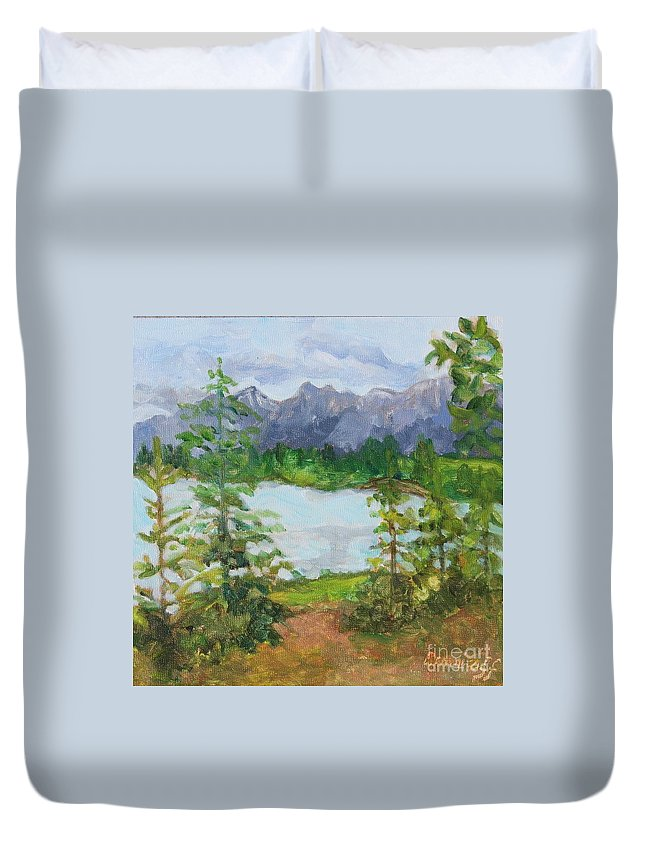 Mountains Duvet Cover featuring the painting Canmore National Park by Jan Bennicoff
