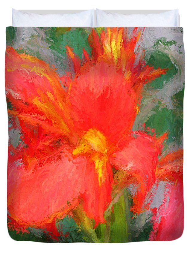 Flowers Duvet Cover featuring the photograph Canna Lily 3 by John Freidenberg
