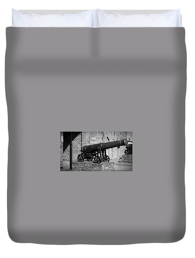 Irish Duvet Cover featuring the photograph Cannon At Macroom Castle Ireland by Teresa Mucha