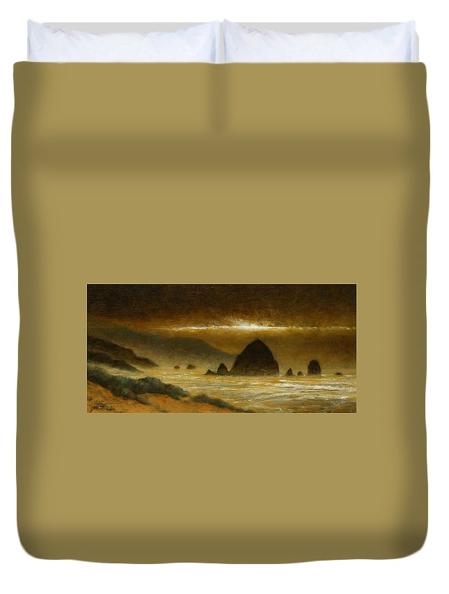Quiet Duvet Cover featuring the painting Cannon Beach Evening by Jim Gola