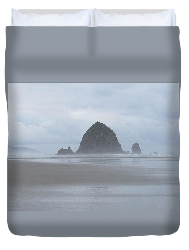 Duvet Cover featuring the photograph Cannon Beach Haystack In The Mist by Ryan Crandall