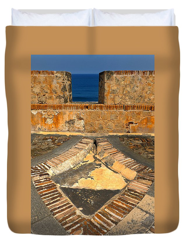Old Fort Duvet Cover featuring the photograph Cannon Portal by Stephen Anderson
