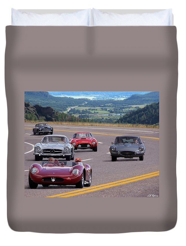 Cars Duvet Cover featuring the photograph Cannonball Rally by Bill Stephens