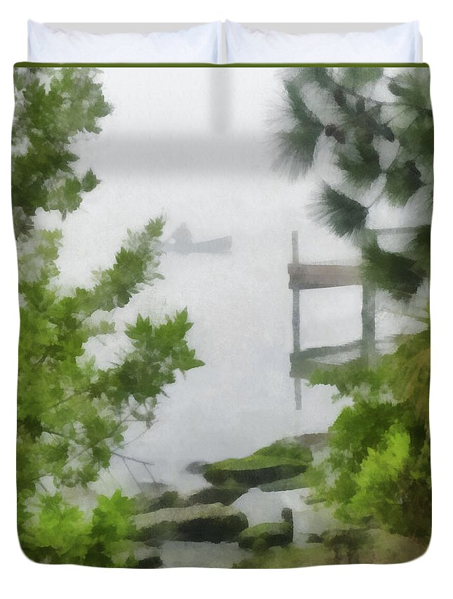 Lagoon Duvet Cover featuring the digital art Canoe In Lake Fog by Francesa Miller