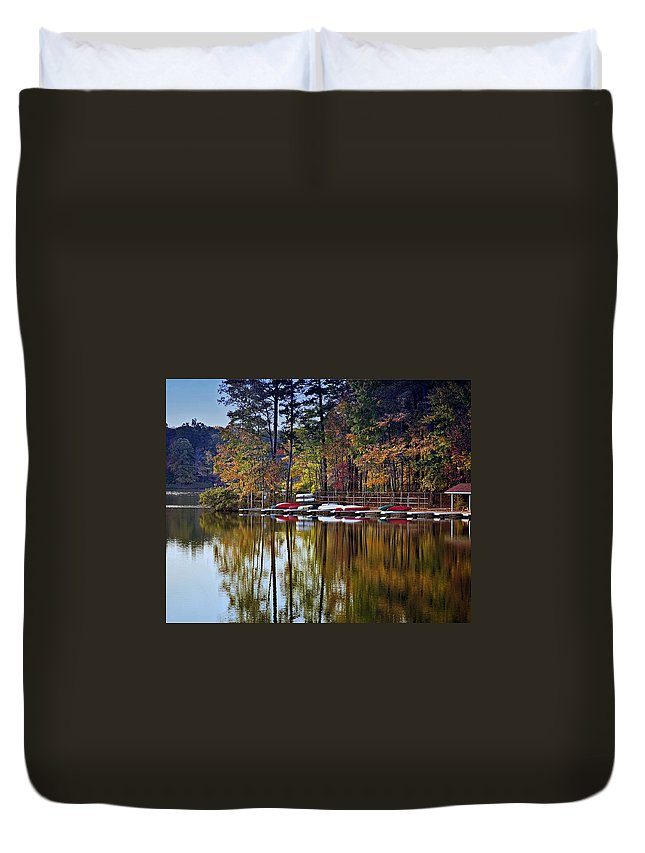 Lake Duvet Cover featuring the photograph Canoe Lake by Gary Adkins
