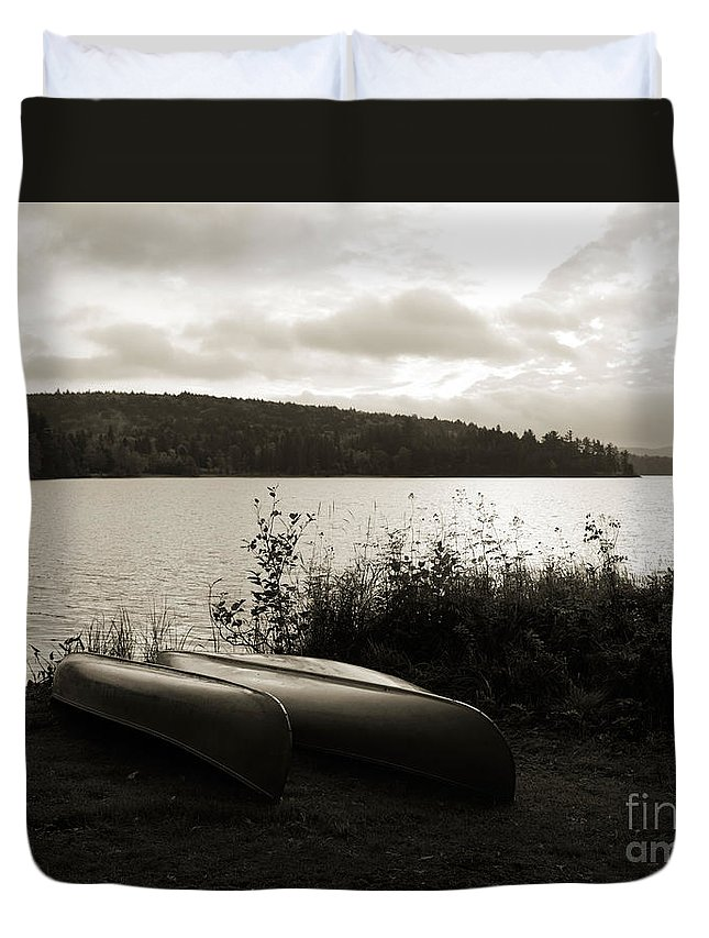 Lake Duvet Cover featuring the photograph Canoe On A Shore Of A Lake At Dawn by Oleksiy Maksymenko