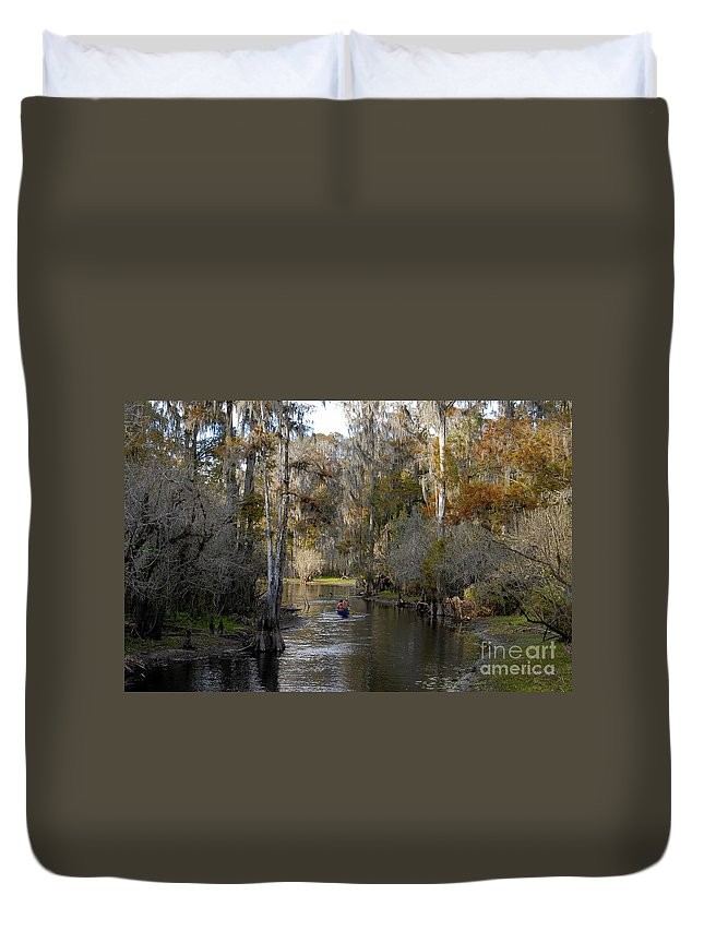 Family Duvet Cover featuring the photograph Canoeing In Florida by David Lee Thompson