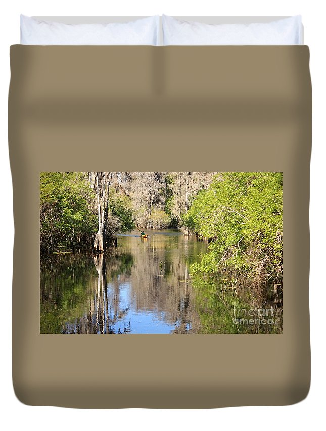 Hillsborough River Duvet Cover featuring the photograph Canoing On Hillsborough River by Carol Groenen