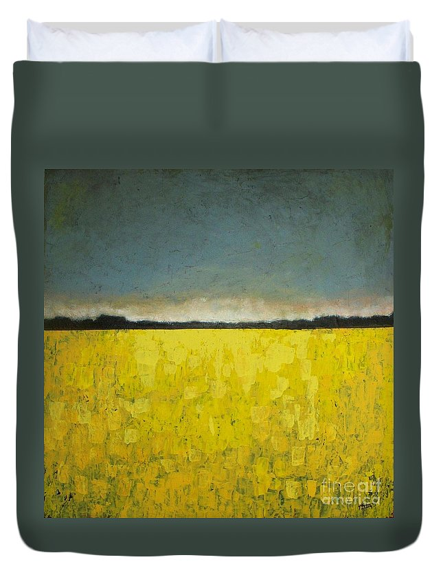 Abstract Duvet Cover featuring the painting Canola Field N0 1 by Vesna Antic