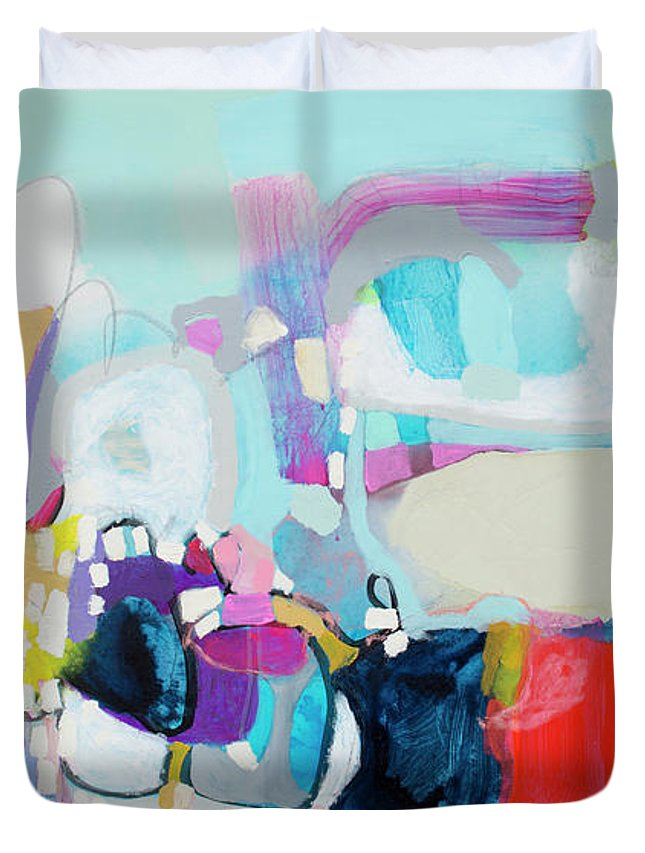 Abstract Duvet Cover featuring the painting Can't Wait by Claire Desjardins