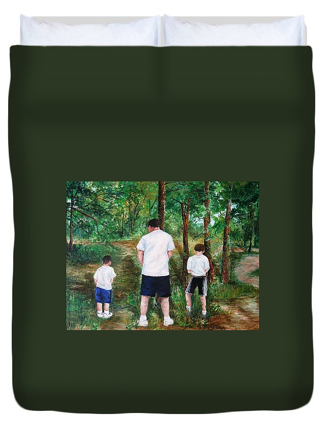 Dad Duvet Cover featuring the painting Can't Wait by Melissa Wiater Chaney