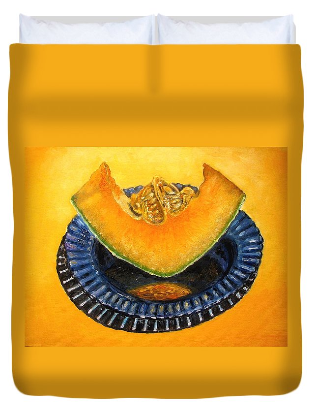 Cantaloupe Duvet Cover featuring the painting Cantaloupe Oil Painting by Natalja Picugina
