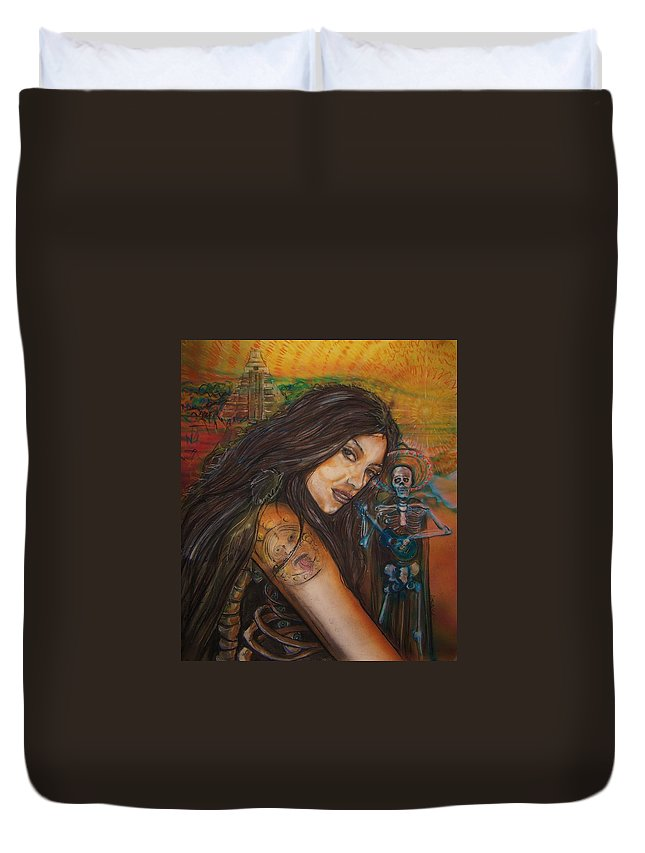 Skeleton Duvet Cover featuring the painting Cantando A Nuestros Pecados by Americo Salazar