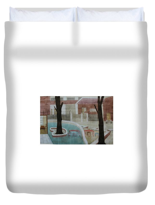 Landscape Duvet Cover featuring the painting Canteen by Gulab Kapadiya
