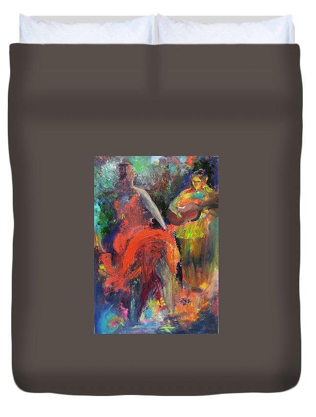 Dancers Duvet Cover featuring the painting Cantina Serenade by Keith Thue