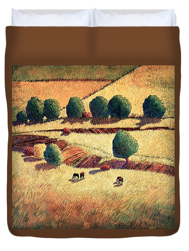 New Mexico Duvet Cover featuring the painting Canto Hondo by Donna Clair