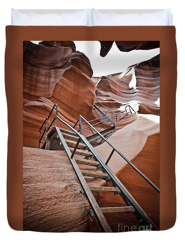 Slot Canyon Duvet Cover featuring the photograph Canyon Exit by Scott Sawyer