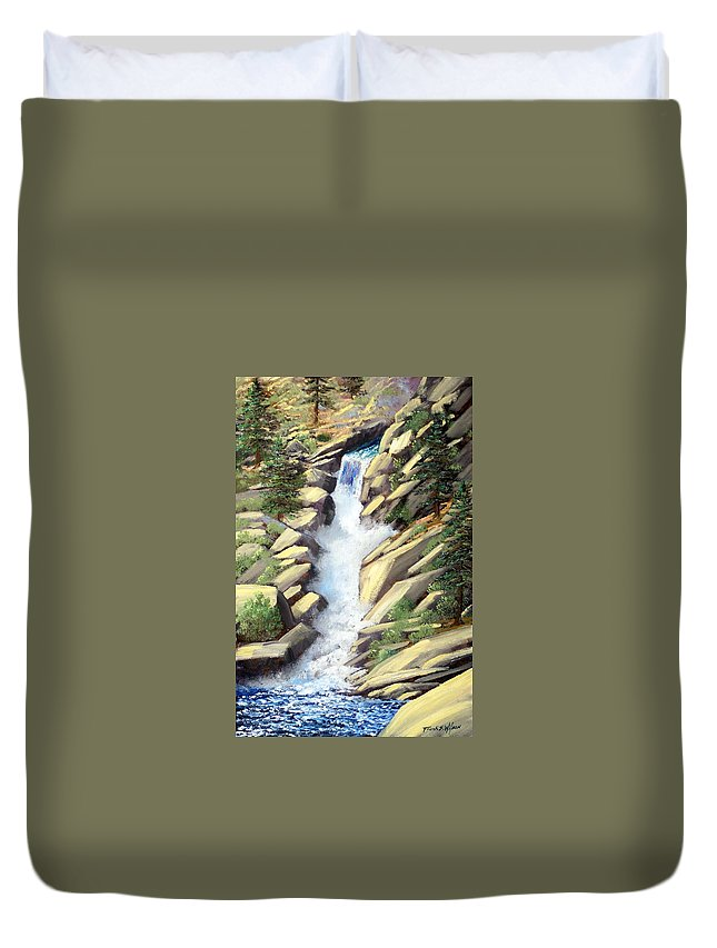 Landscape Duvet Cover featuring the painting Canyon Falls by Frank Wilson