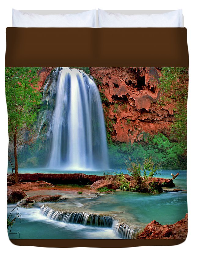 Southwest Duvet Cover featuring the photograph Canyon Falls by Scott Mahon