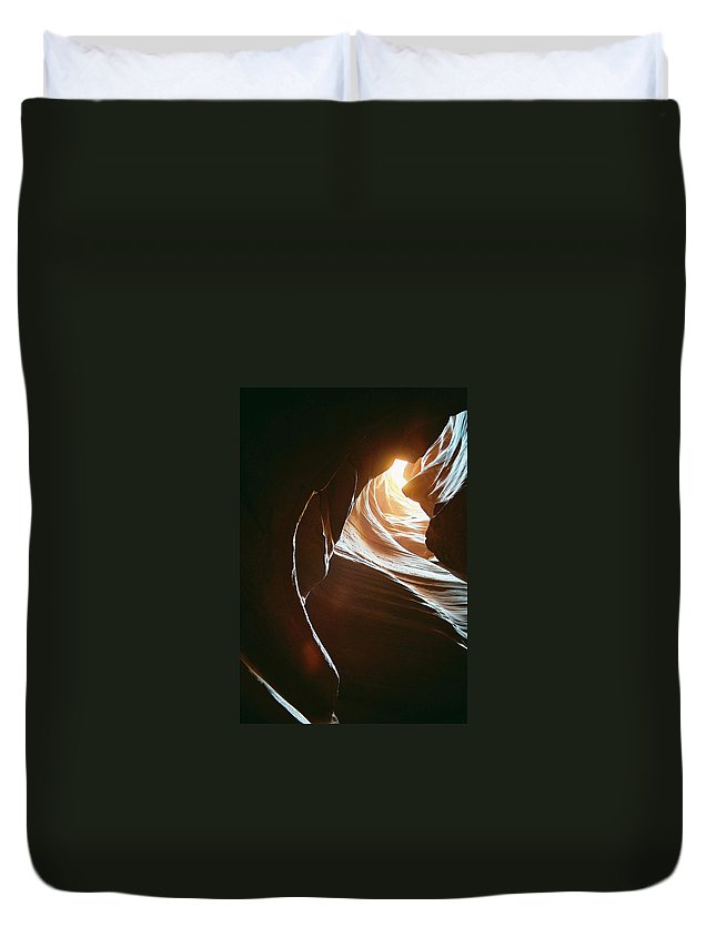 Landscape Duvet Cover featuring the photograph Canyon Flares by Cathy Franklin