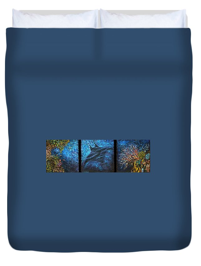 Nature Duvet Cover featuring the painting Canyon Flight by Pamela Stroberg