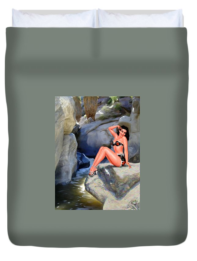 Landscape Duvet Cover featuring the digital art Canyon Girl by Snake Jagger