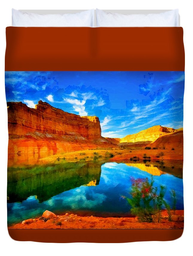 Digital Painting Duvet Cover featuring the digital art Canyon Glories by Mario Carini