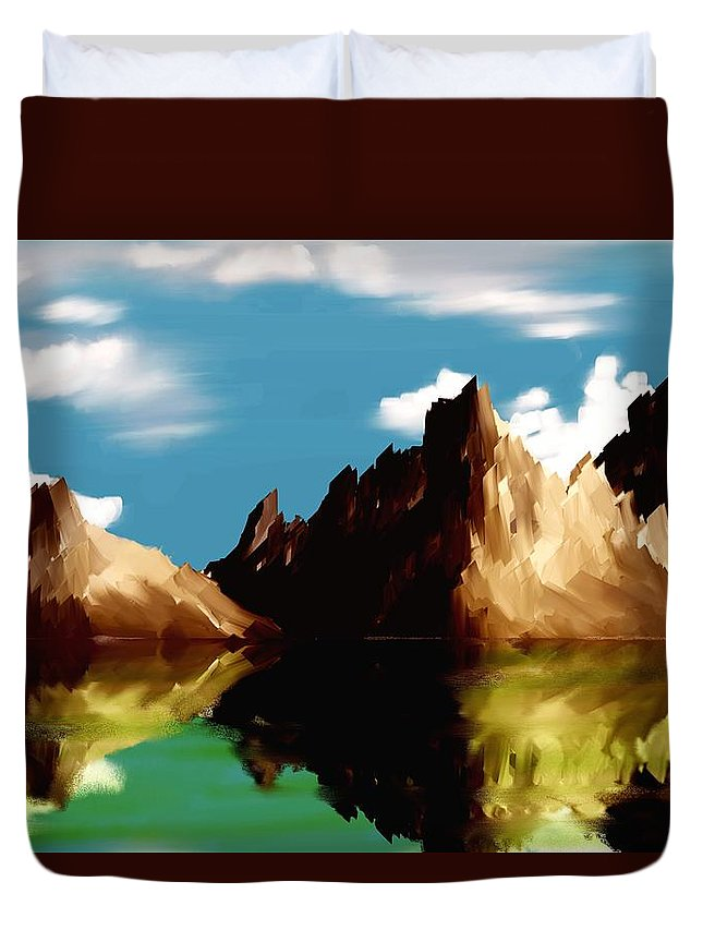 Digital Art Duvet Cover featuring the digital art Canyon Lake by David Lane