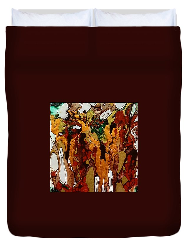Abstract Duvet Cover featuring the painting Canyon Of Gold by Pat Purdy