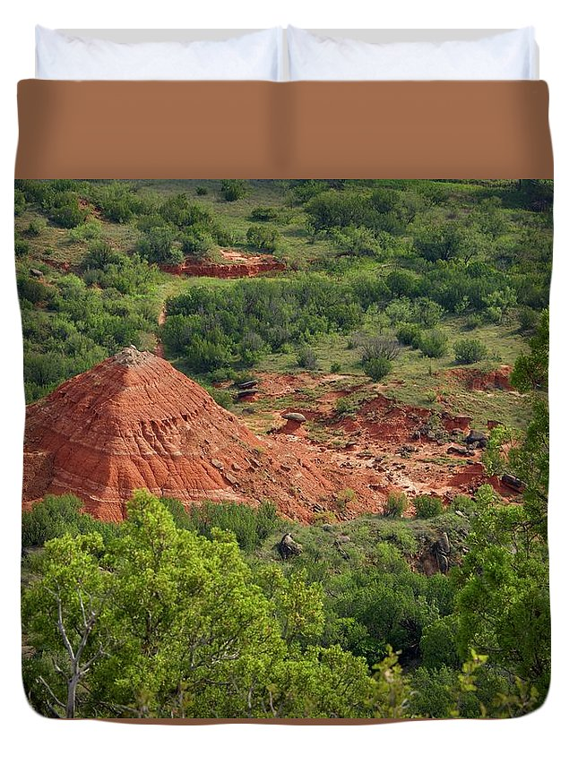 Palo Duro Canyon Duvet Cover featuring the photograph Canyon Pyramid by Dee Dee Whittle