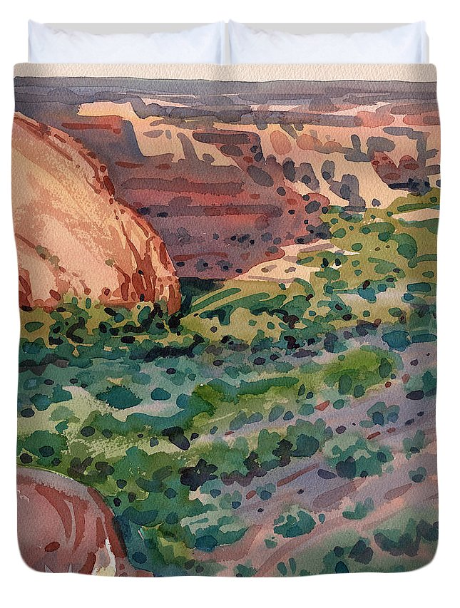 Canyon De Chelly Duvet Cover featuring the painting Canyon Shadows by Donald Maier