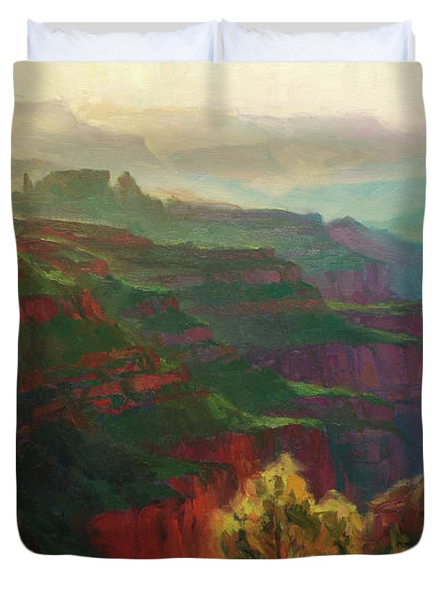 Canyon Duvet Cover featuring the painting Canyon Silhouettes by Steve Henderson