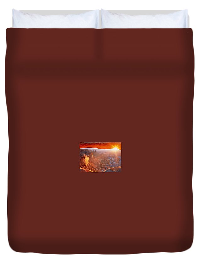 Canyonlands Duvet Cover featuring the photograph Canyonlands Cavern At Sunset by Ron Swonger