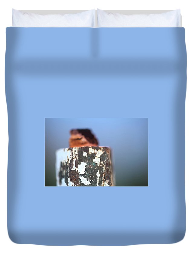 Hydrant Duvet Cover featuring the photograph Cap Chip by Walter Murdock