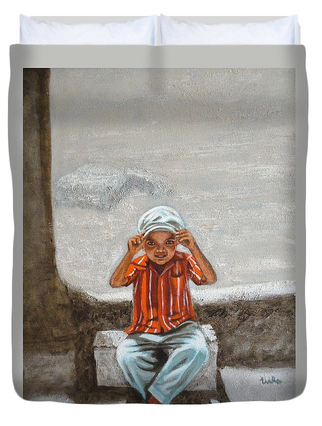 Cap Duvet Cover featuring the painting Cap On by Usha Shantharam