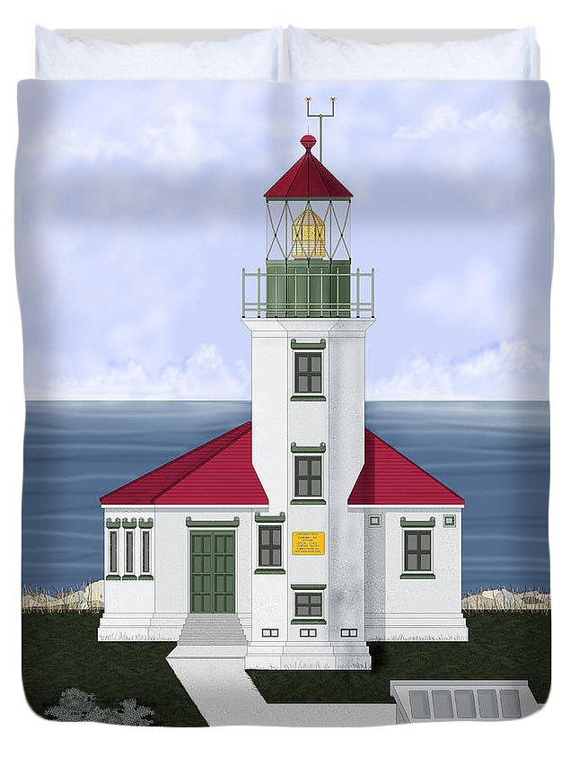 Cape Arago Duvet Cover featuring the painting Cape Arago Oregon by Anne Norskog